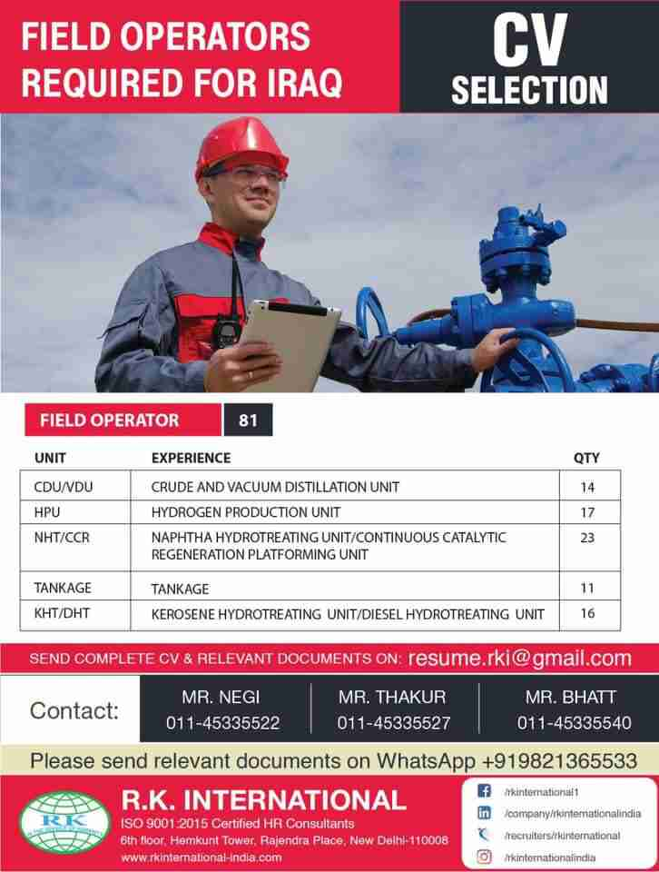 R.K International | Field operator required for Iraq, Qty-81