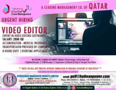 Video Editor jobs  – Urgent requirement for Video editor in Qatar