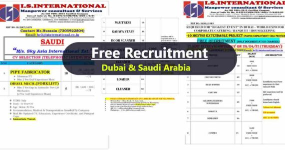 Abroad Jobs – A large number of job vacancies for Dubai and Saudi Arabia