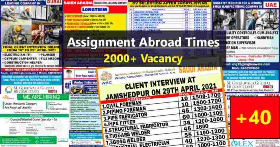 Abroad jobs | Latest Gulf job interviews in India – 2000+ Seats
