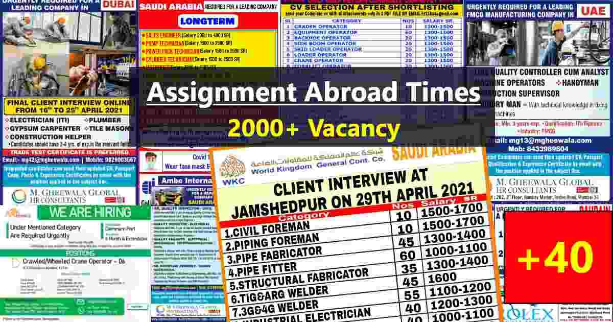 Abroad jobs | Latest Gulf job interviews in India – 2000+ Seats