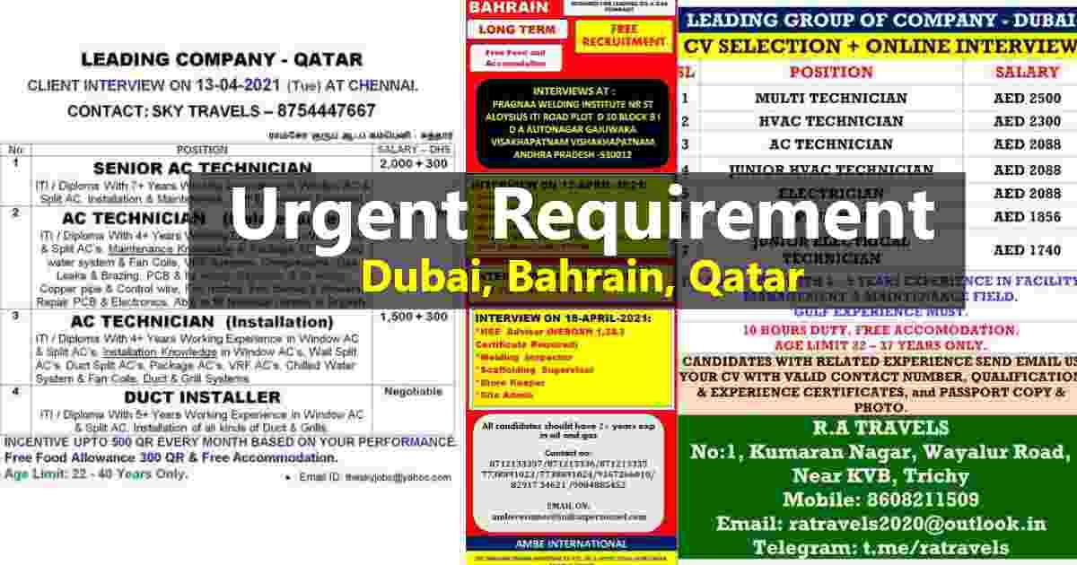 Gccwalkin – Urgent requirement for Dubai, Qatar, and Bahrain