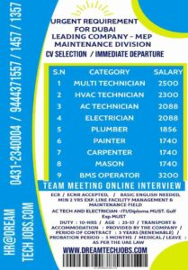 Gulf jobs | Urgent requirement for MEP maintenance division – Dubai