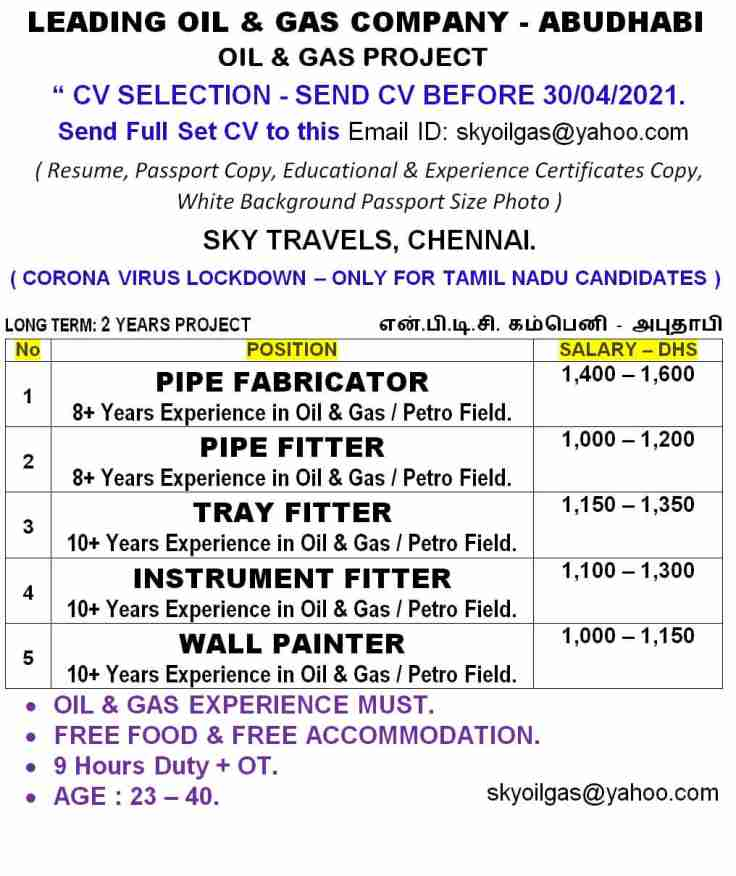 Gulf jobs – Urgent requirements for Oil & Gas Company in Abu Dhabi