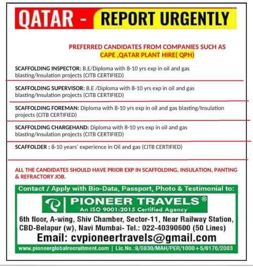 Gulfwalkin - Scaffolding, Insulation, Painting, and Refractory job in Qatar