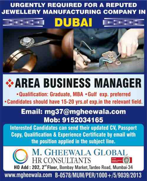 Hiring for Area Business Manager in Dubai