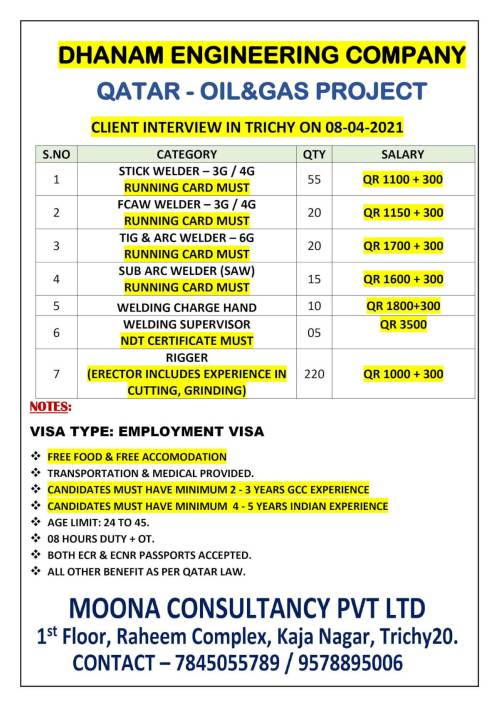 Oil and Gas job search - Danem Engineering Company in Qatar