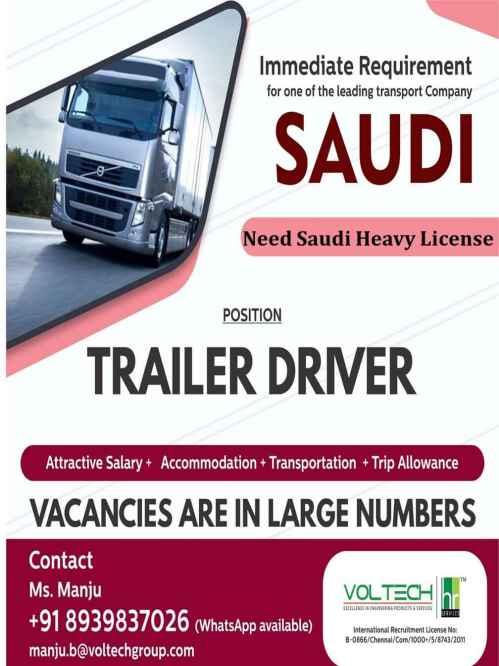Overseas jobs - Job Vacancy for Heavy Driver