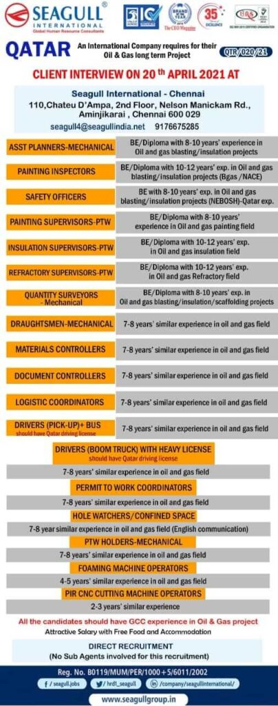 Qatar job vacancy - Hiring for a leading International Oil & Gas Company