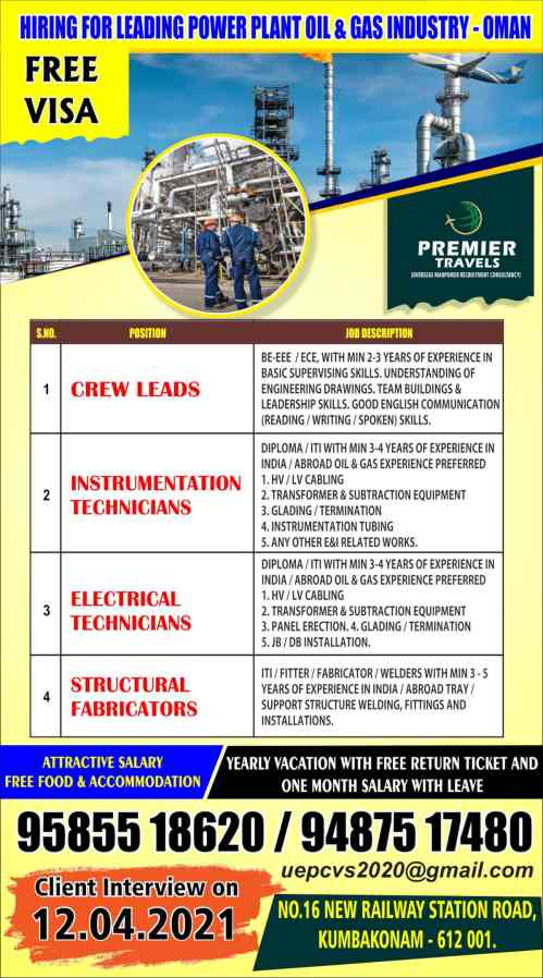 Jobs in Oman - Large number of vacancies for Oil & Gas/Construction co.