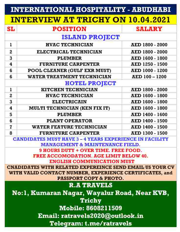 Abu Dhabi jobs for International hospitality Island and Hotel project