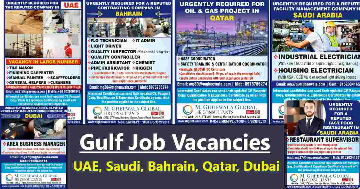 Jobs Abroad – Vacancies for UAE, Saudi Arabia, Dubai, Bahrain & Qatar