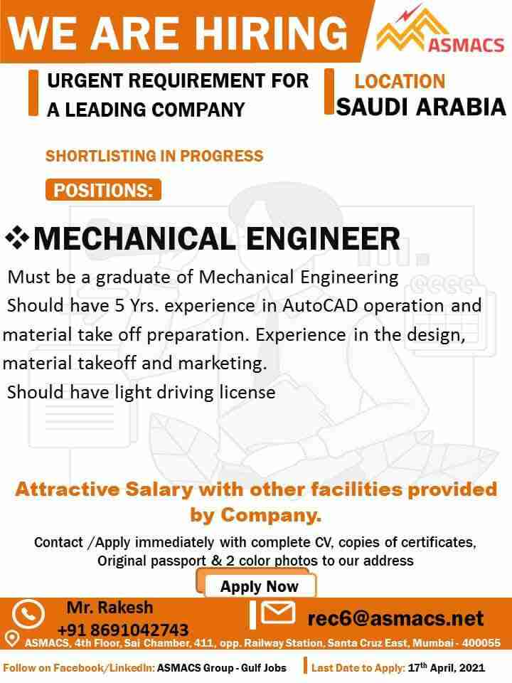 Mechanical Engineering jobs – Requirement for a Leading Co. in Saudi Arabia