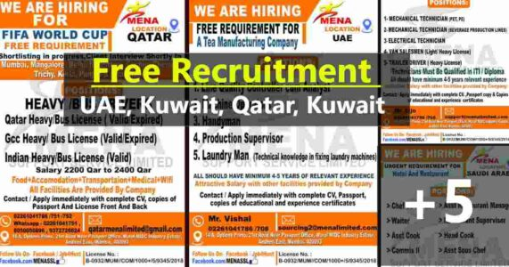 Overseas employment news – Large job vacancies for UAE, Qatar, Kuwait & Saudi Arabia