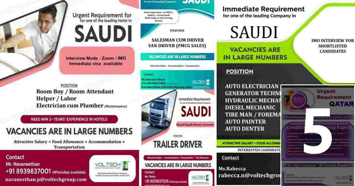 Overseas jobs – A large number of job vacancies for Qatar and Saudi Arabia
