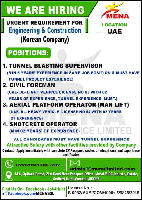 Requirement for a Korean Engineering Company