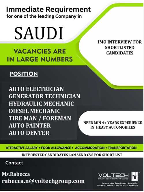 Overseas jobs - Urgent Requirement for Automobile Company