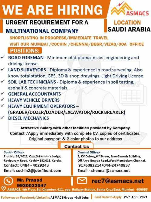 Urgent Requirement for MNC company