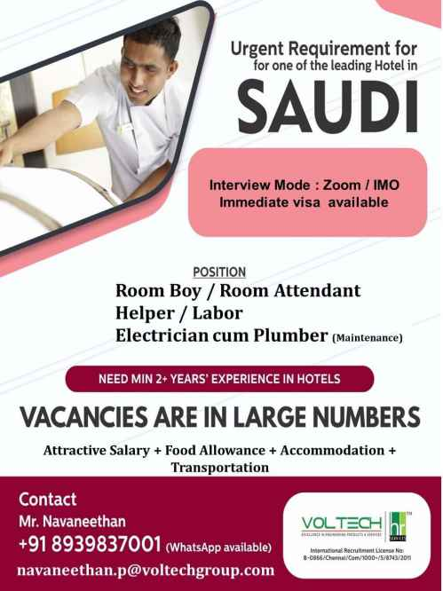 Overseas jobs - Urgent Requirements for a leading Hotel