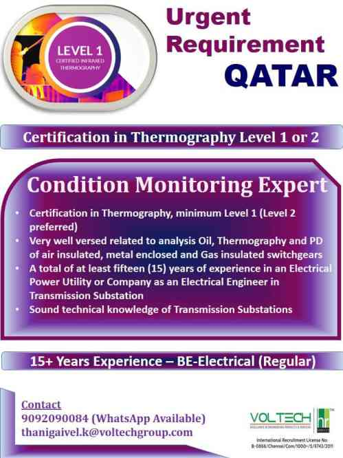 Overseas jobs - Urgent requirement for Condition monitoring expert