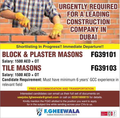 Urgently required for a leading construction company in Dubai