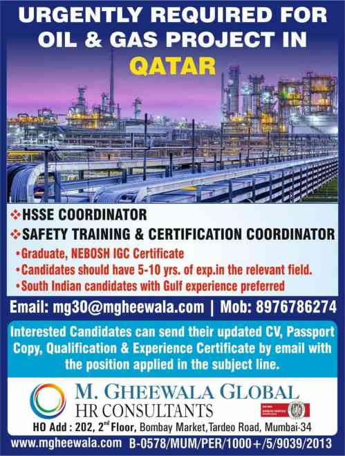 Vacancy for Oil & Gas Project in Qatar