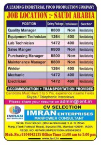 Abroad Times – Job Vacancies for a leading food production co. in Saudi Arabia