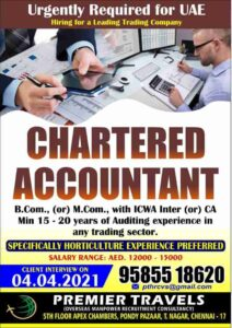 Charted Accountant jobs | Hiring for a leading trading company in UAE