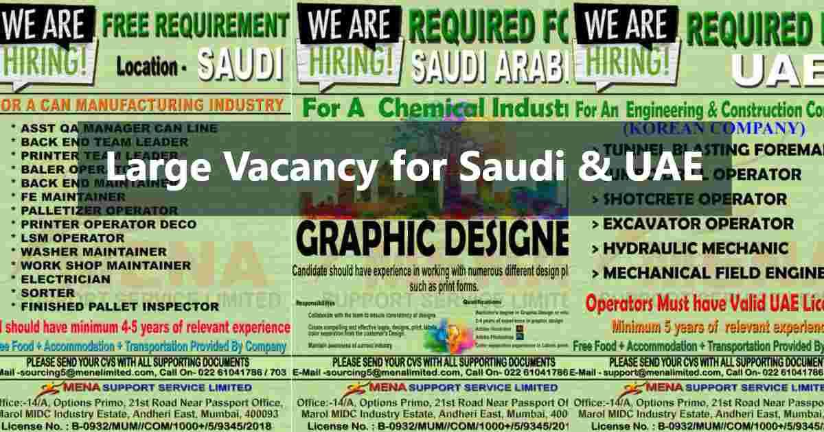 Gulf job vacancy – A large job vacancies for UAE & Saudi Arabia