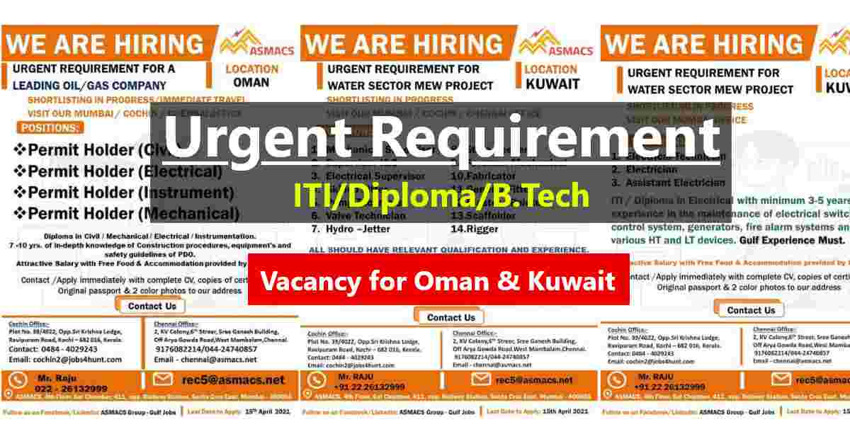 Gulf jobs – Urgent requirement of Indians in Kuwait and Oman