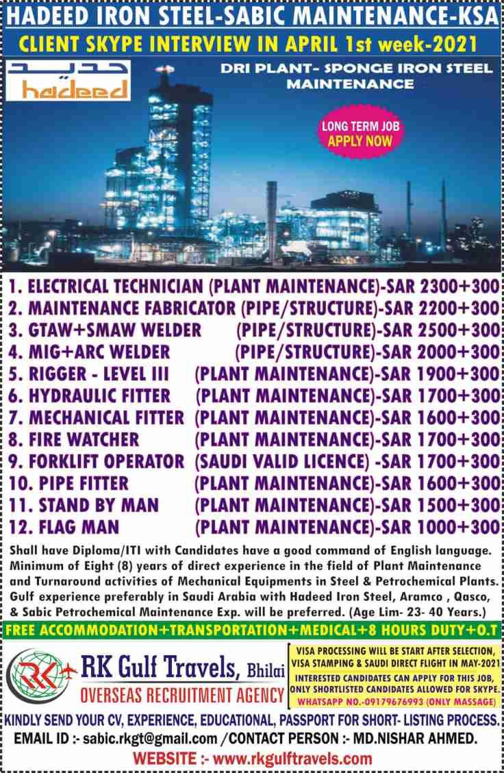 Gulf jobs | Hadeed Iron & Steel Saudi Arabia – Long term job