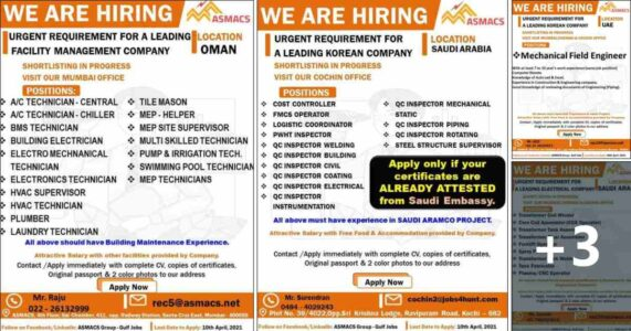 Gulf jobs | Large job vacancies for Saudi, Oman & UAE – 500+ vacancies