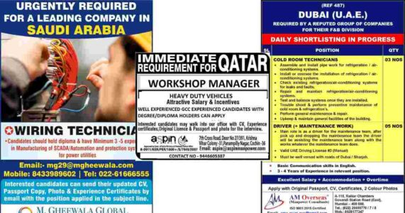 Gulf Jobs – Urgent requirements for Saudi Arabia, Qatar, and Dubai