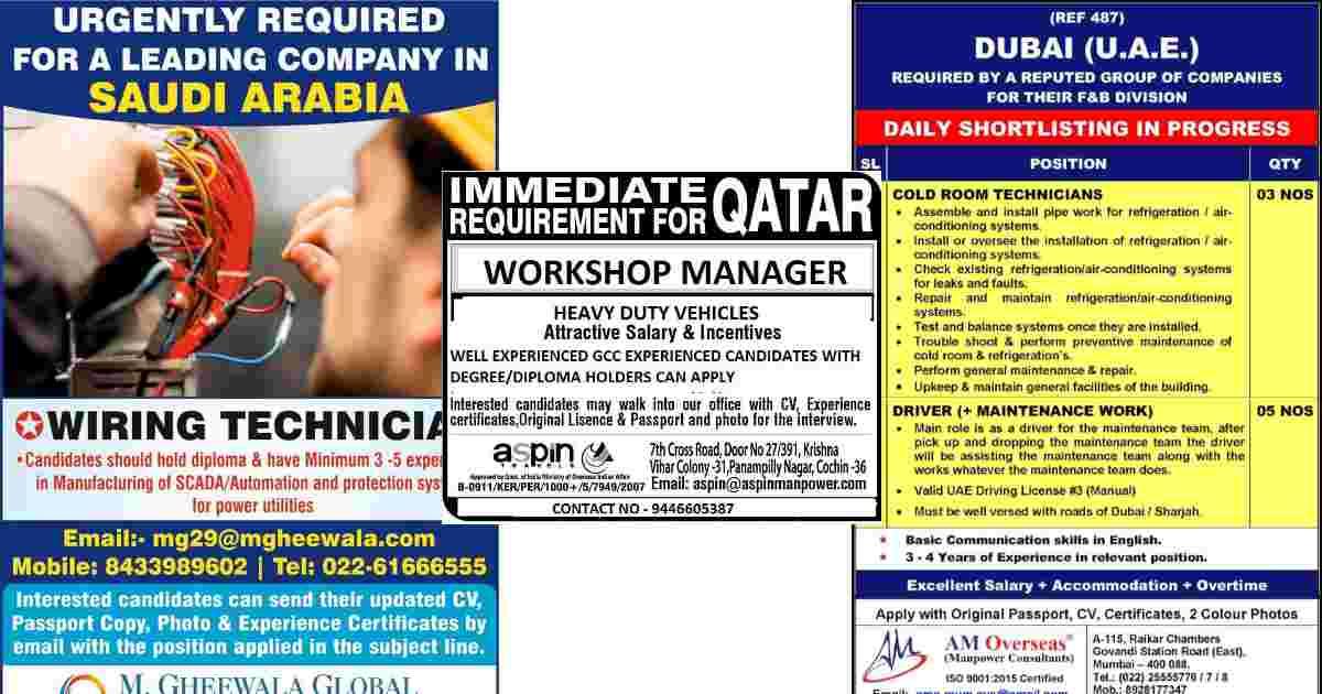 Gulf Jobs – Urgent requirements for Saudi Arabia, Qatar, and Dubai