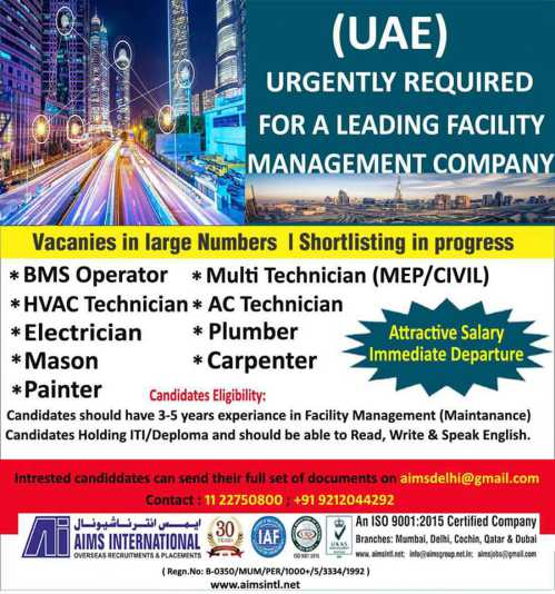 AIMS International Mumbai - Requirement in UAE for Airports & Facility management