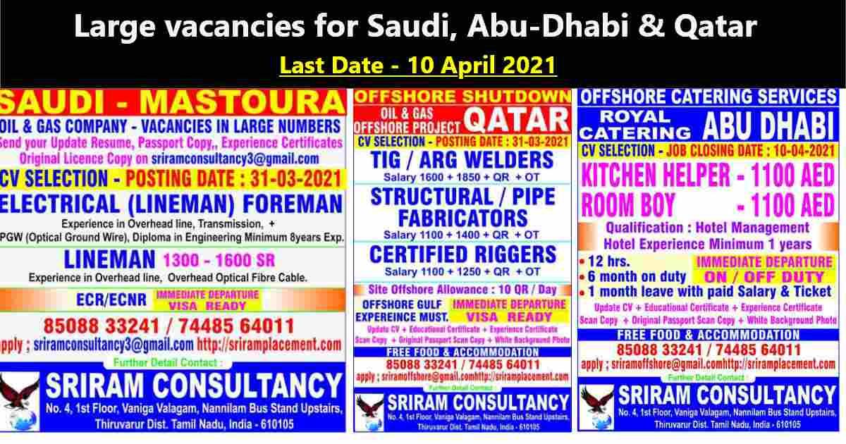 Abroad jobs – Urgent requirement for Saudi Arabia, Qatar, and Abu-Dhabi