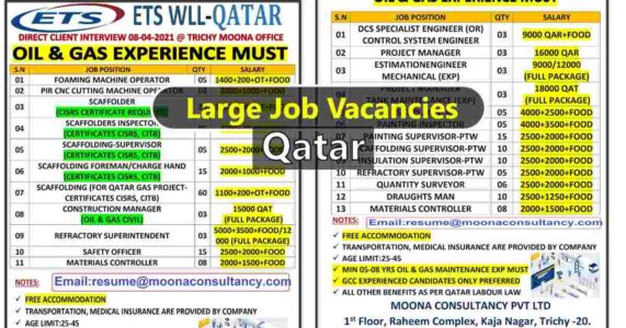 Oil and Gas jobs – Large vacancies for ETS Wll Company in Qatar