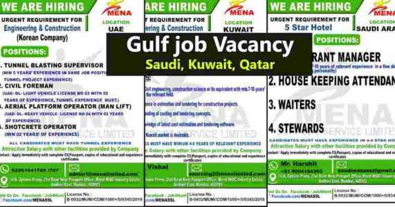 Overseas Jobs – Large job vacancies for Saudi Arabia / UAE / Kuwait