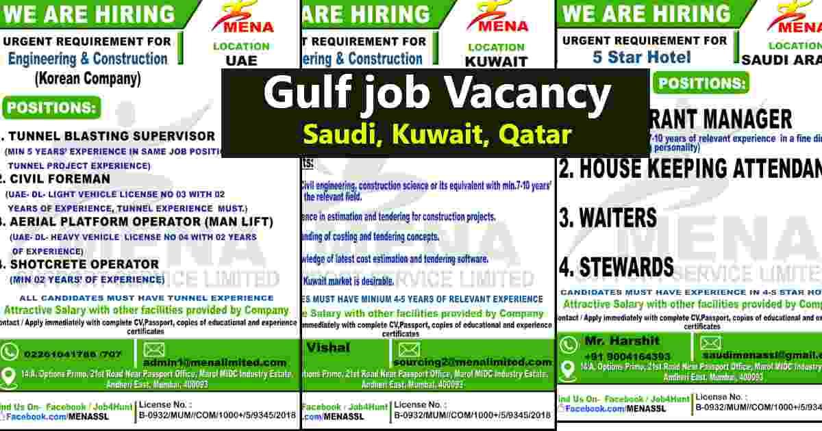Overseas Jobs – Large job vacancies for Saudi Arabia / UAE / Kuwait