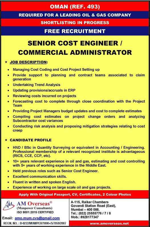 Free Recruitment | Senior cost Engineer for Oman – Oil & Gas Project