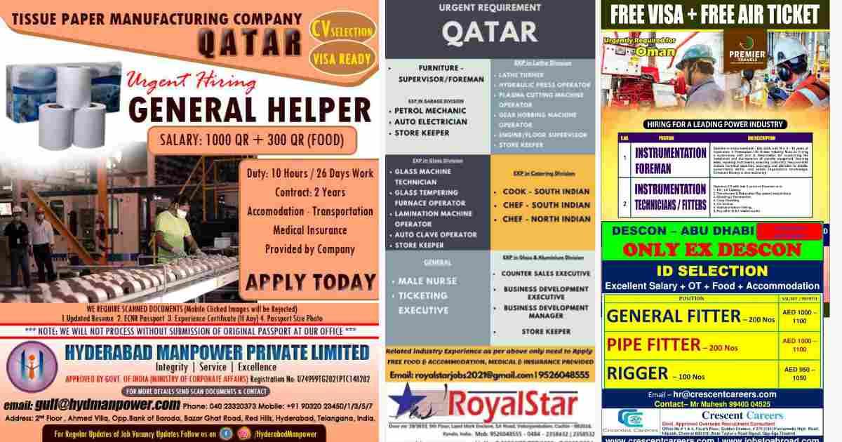 Overseas job Interview | Vacancies for Abu-Dhabi, Oman & Qatar