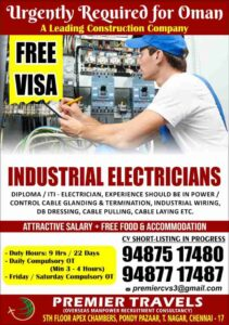 Urgent Requirement for Oman – Industrial Electrician