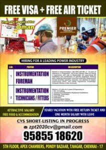 Oman job vacancy – Instrument Foreman / Technician/ Fitter