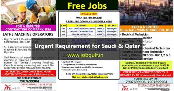 Gulf jobs India | Job Vacancies for Saudi Arabia and Qatar