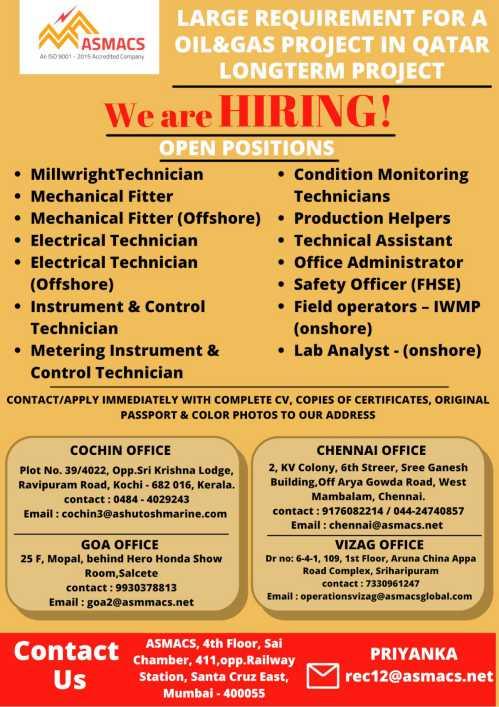 Asmacs Gulf job vacancy 2021 | Interview at Mumbai, Chennai, Kochi, Goa