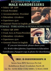 Job vacancy for Male Hair Dairdressers in Qatar