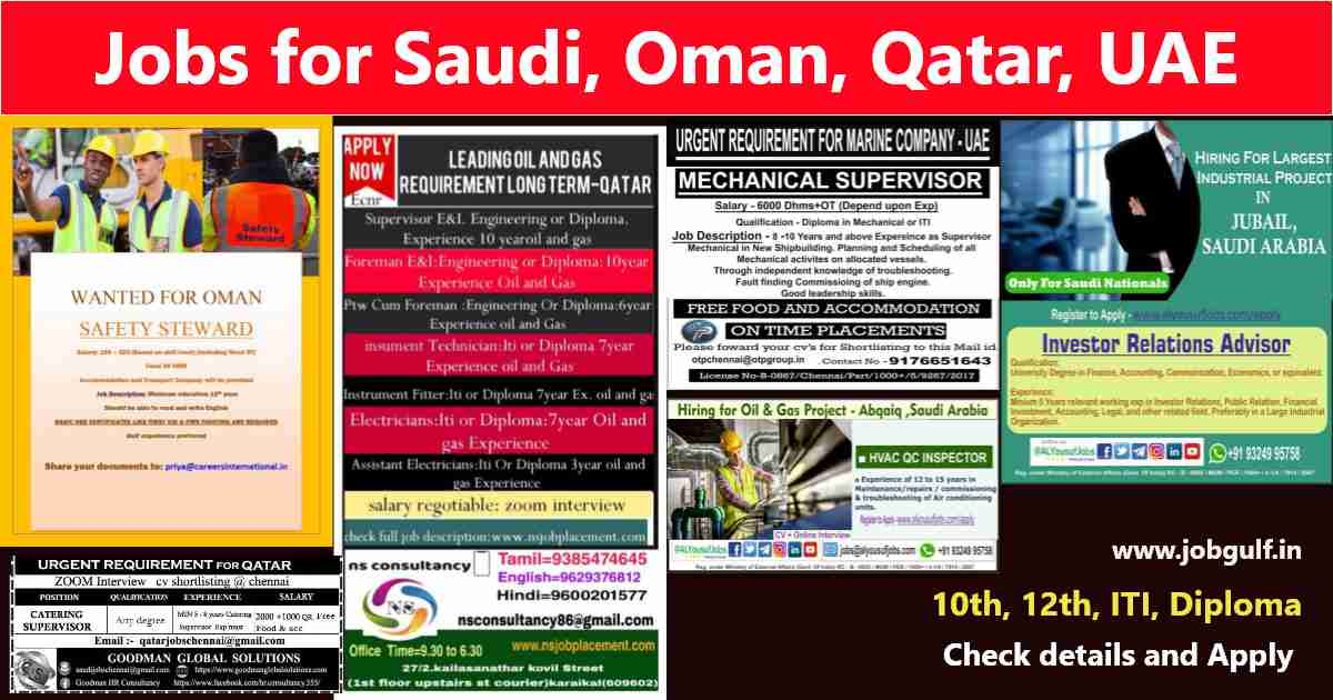 Latest Gulf jobs for Indians – 200+ job vacancies for Saudi, UAE, Oman, Qatar