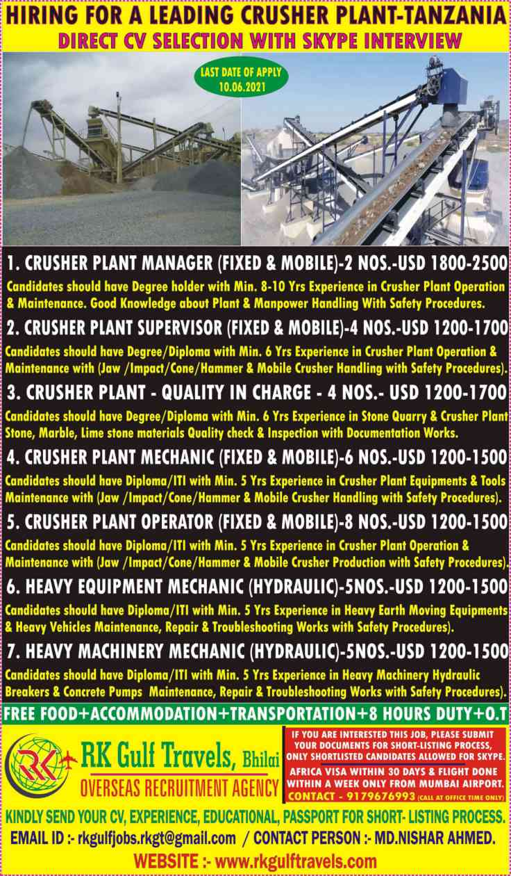 Overseas Jobs – Urgent requirement for a leading crusher plant