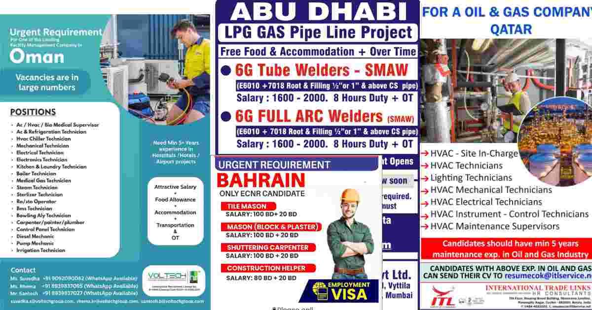 Overseas jobs – Urgent requirement for Bahrain, Qatar, Abu-Dhabi