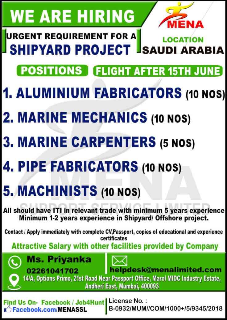 Urgent Requirement for Shipyard Project in Saudi Arabia